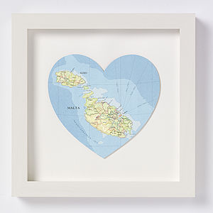 Malta And Gozo Map Heart Print Honeymoon Gift
