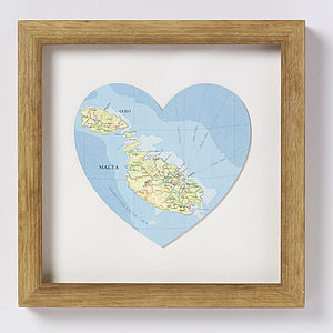 Malta And Gozo Map Heart Print - art & pictures