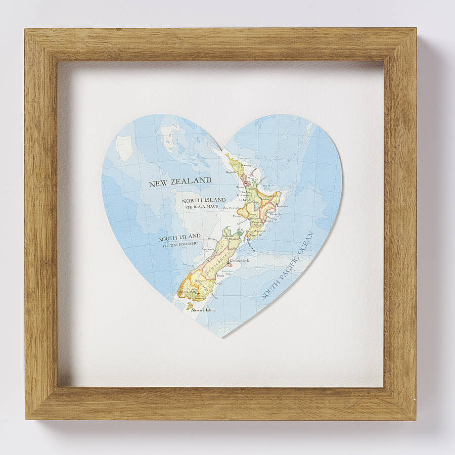 Wedding Gift New Zealand : New Zealand map heart print natural wood frame