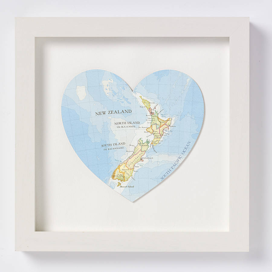 New Zealand map heart print white frame