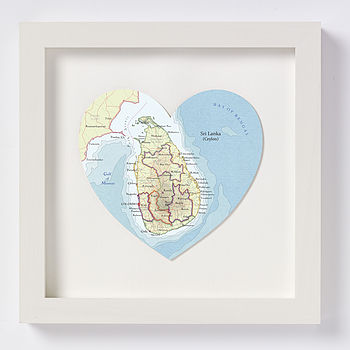Sri Lanka map heart print white frame
