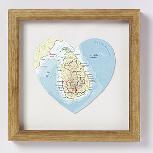 Sri Lanka Map Heart Print