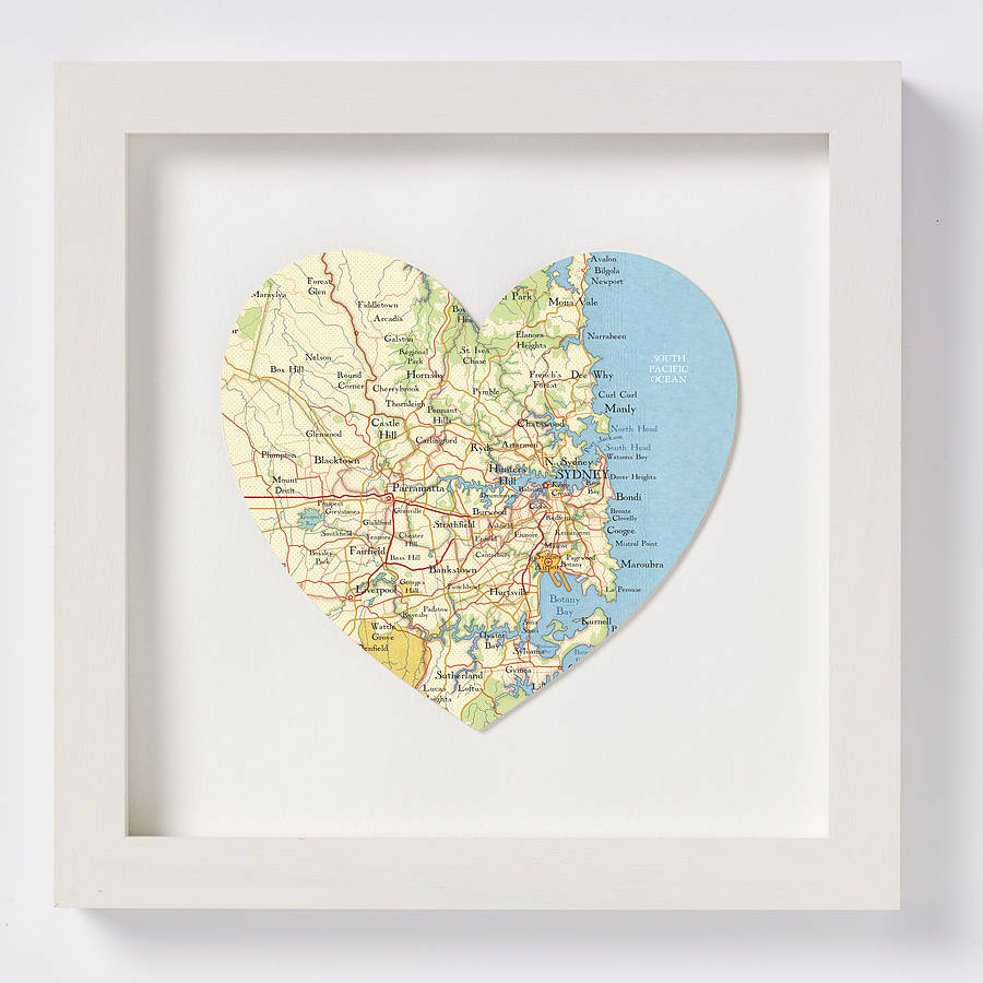 Sydney Map Heart Print Wedding Anniversary Gift By Bombus