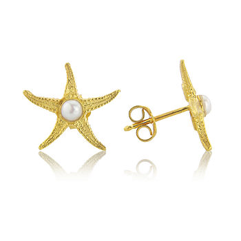 18ct Gold Starfish Earrings With Pearl Centres