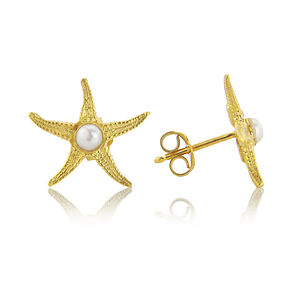 18ct Gold Starfish Earrings With Pearl Centres - earrings