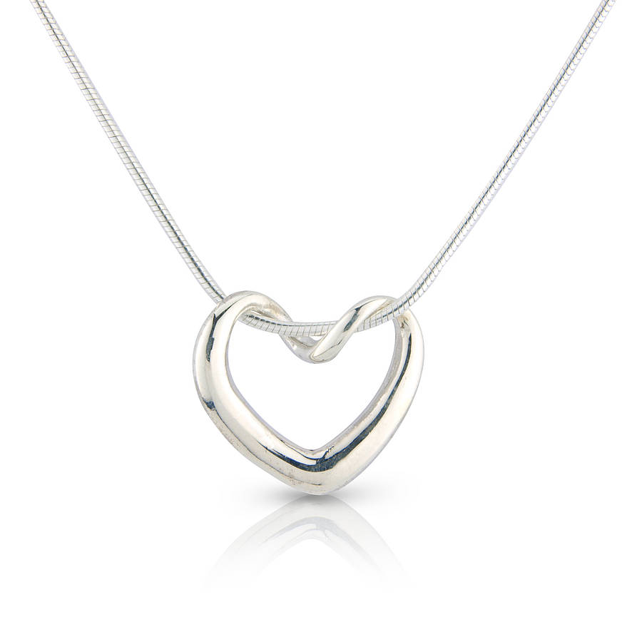 Silver Heart: Twisted Heart Necklace By Argent Of London