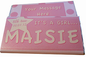 New Baby Personalised Chocolate Bar - food & drink gifts
