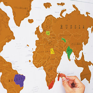 Scratch Off World Map With Gift Wrap - pictures, prints & paintings