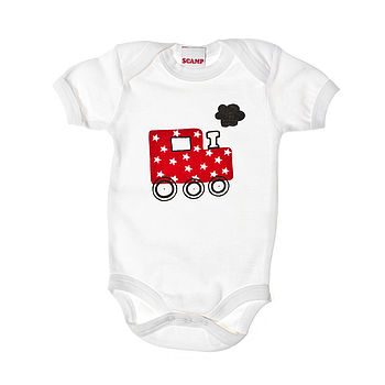 Big Red Train Baby Grow