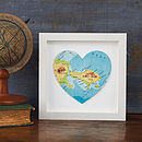 Personalised Mini Map Location Heart Print