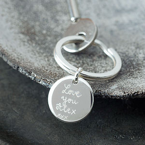 Personalised Sterling Silver Key Ring - for your other half