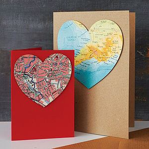 Personalised Map Location Heart Card - valentine's cards