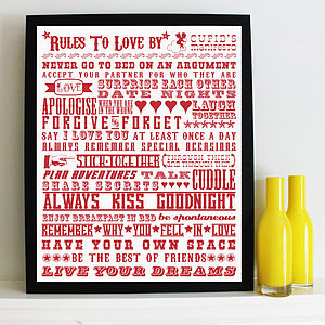 'Rules To Love By' Screen Print - best for birthdays