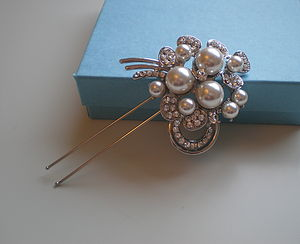 Vintage Style Crystal And Pearl Hair Pin