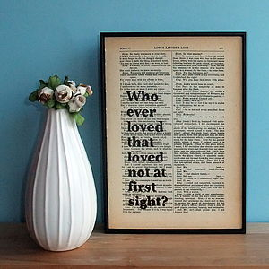 Shakespeare Love Quote Framed Book Page