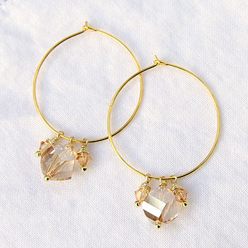 Swarovski Crystal Hoop Earrings In Champagne
