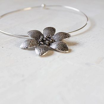 Tibetan Silver Flower On Choker
