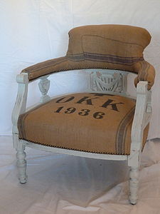 Vintage 1936 Victorian Grain Sack Chair - living room