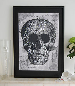 Lace Face Framed Diamante Embellished Artwork - mixed media & collage