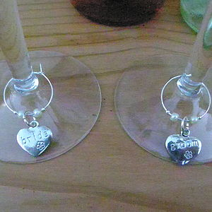 Set Of Bride And Groom Wine Glass Charms - kitchen