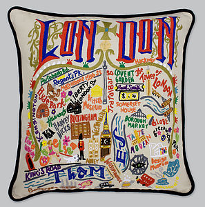 London Catstudio Hand Embroidered Cushion - cushions
