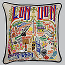 London Catstudio Hand Embroidered Cushion