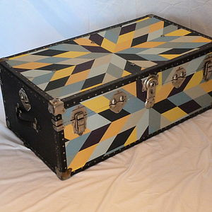 Vintage Star Patterned Quilt Trunk - boxes, trunks & crates