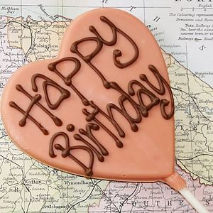 'Happy Birthday' Handmade Chocolate Lolly - sweets & chocolate
