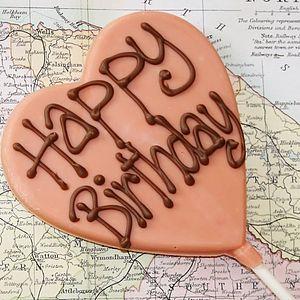 'Happy Birthday' Handmade Chocolate Lolly - sweets & chocolate