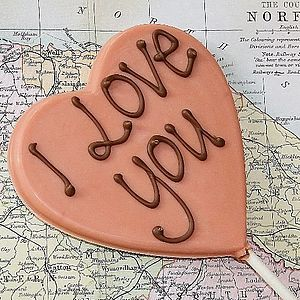 'I Love You' Handmade Chocolate Lolly - cakes & treats