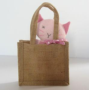 Mini Knitted Animal In A Bag - soft toys & dolls