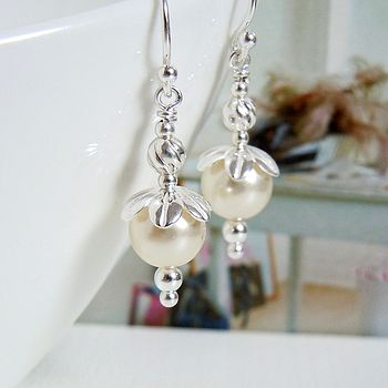 Blossom Silver And Pearl Earrings