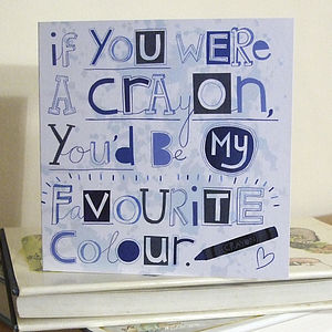 'If You Were A Crayon' Card - wedding cards
