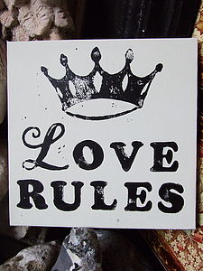'Love Rules' Block-Printed Canvas - paintings & canvases