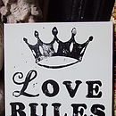 'Love Rules' Block-Printed Canvas
