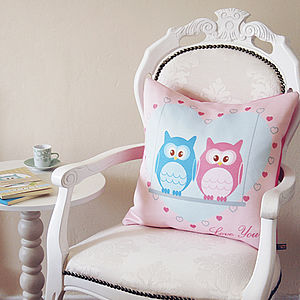 Owls On Love Swing Cushion - bedroom