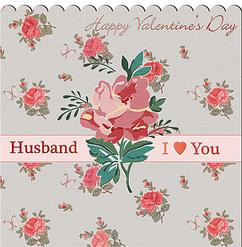Grey Floral Husband Valentines