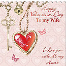 Valentine Card Heart & Key Wife AR08