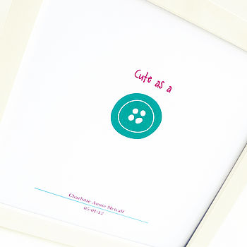'Cute As A Button' Printed Gift Frame