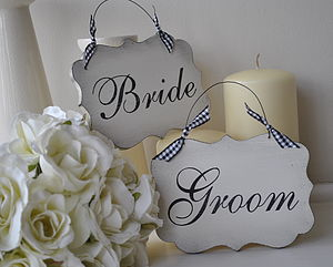 Bride & Groom Wedding Signs - outdoor wedding signs