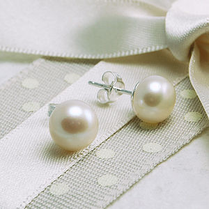 Freshwater Pearl Stud Earrings - wedding earrings