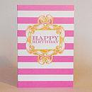 Candy Stripe 'Happy Birthday' Card