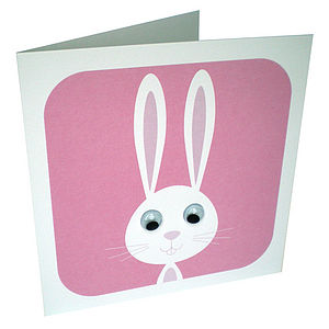 Wobbly Eyed Bunny Rabbit Card - birthday cards