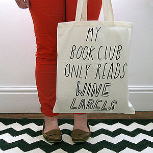 My Book Club Only Read Wine Labels Canvas Tote Bag - shopper bags