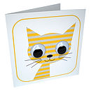 Wobbly Eyed Stripey Cat Card