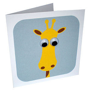 Wobbly Eyed Giraffe Card - children's birthday cards
