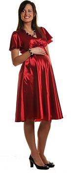 Red Satin Maternity Dress