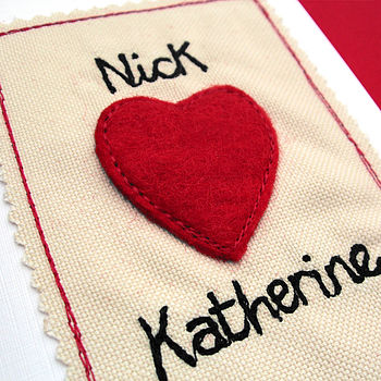 Personalised Embroidered Couples Valentines Card