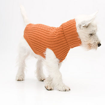 Cable Knit Dog Jumper Burnt Orange