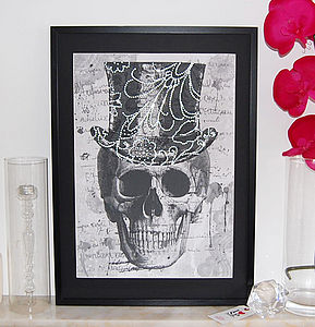 Top Hat Framed Diamante Embellished Artwork - still life